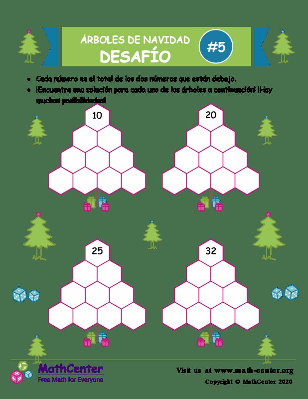 Desafío de Sumas de árbol de Navidad 5