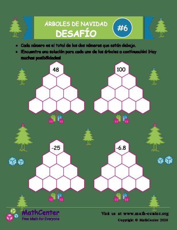 Desafío de Sumas de árbol de Navidad 6