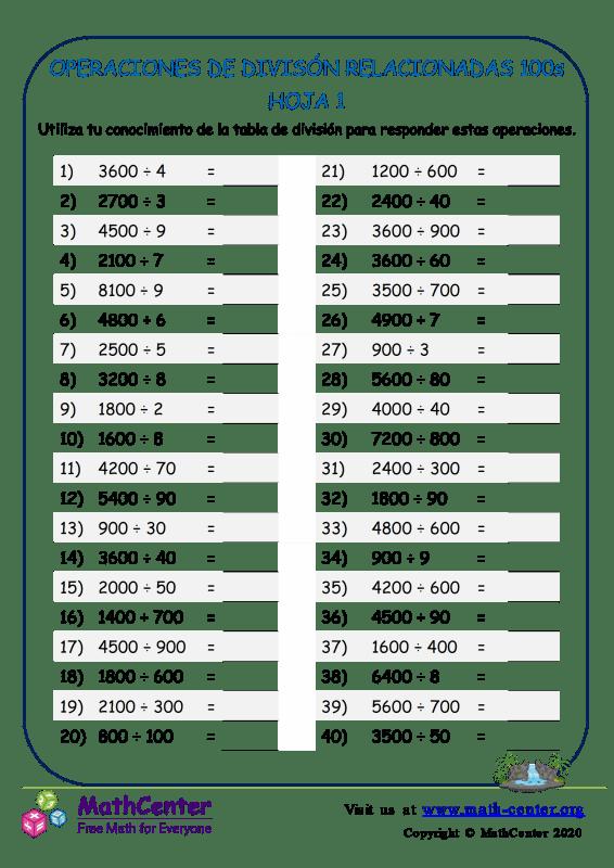 Divisiones: Operaciones relacionadas con 100 - Hoja 1