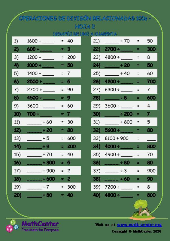 Divisiones: Operaciones relacionadas con 100 - Hoja 2