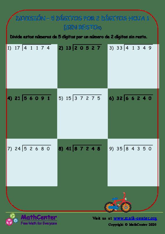 División – 5 Dígitos Por 2 Dígitos Hoja 1 (Sin Restos)