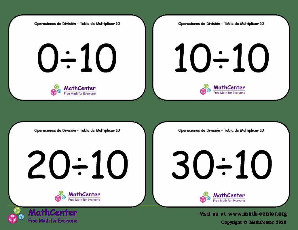 10 Tarjetas didácticas: División - tablas de multiplicar con Respuestas