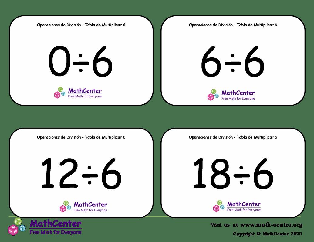 6 Tarjetas didácticas: División - tablas de multiplicar con Respuestas