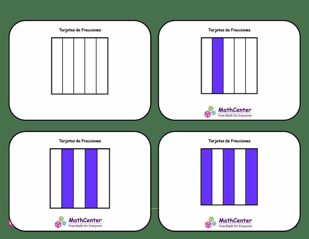 Tarjetas didácticas de fracciones - Quintos (cuadrados)