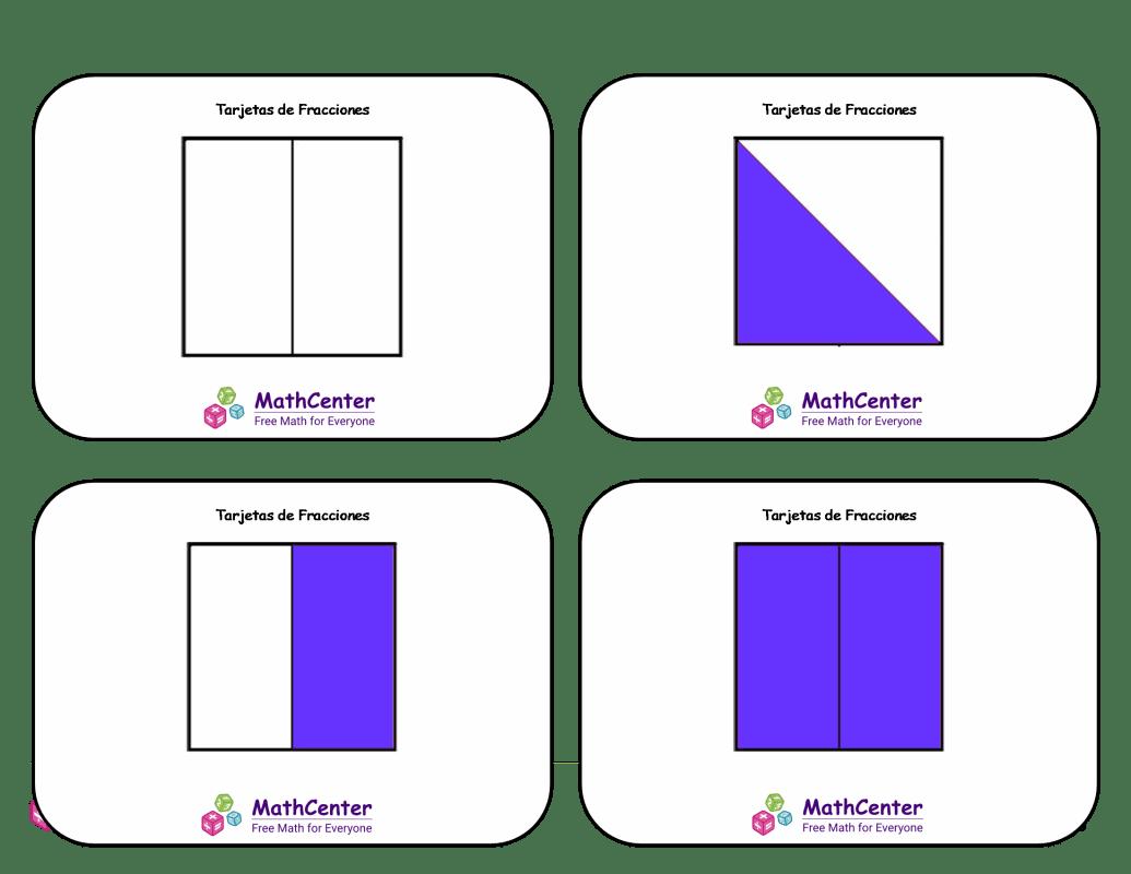 Tarjetas didácticas de fracciones con respuestas: medios cuartos (cuadrados)
