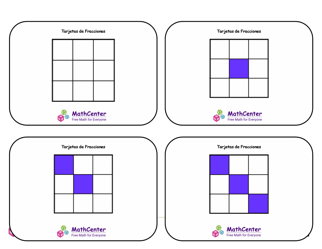 Tarjetas didácticas de fracciones con respuestas - Novenos (cuadrados)