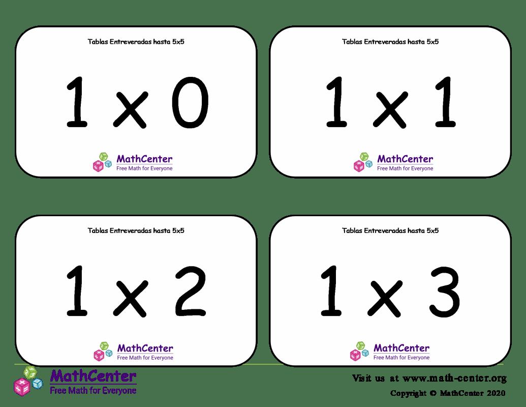 Multiplicaciones variadas - Tarjeta didácticas hasta 5 X 5