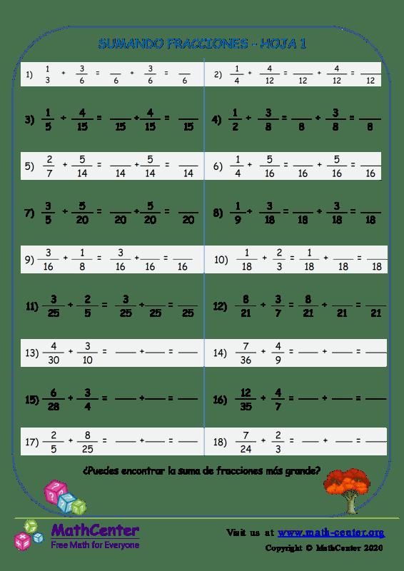 Sumando Fracciones Hoja 1