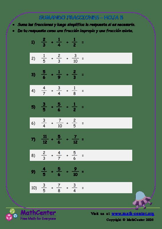 Sumando Fracciones Hoja 8