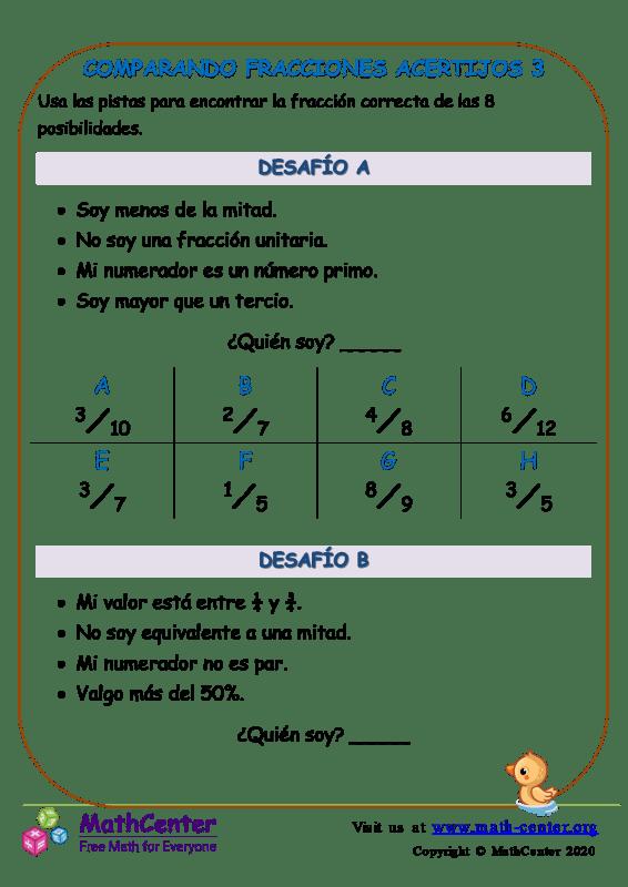 Comparando Fracciones Acertijos 3