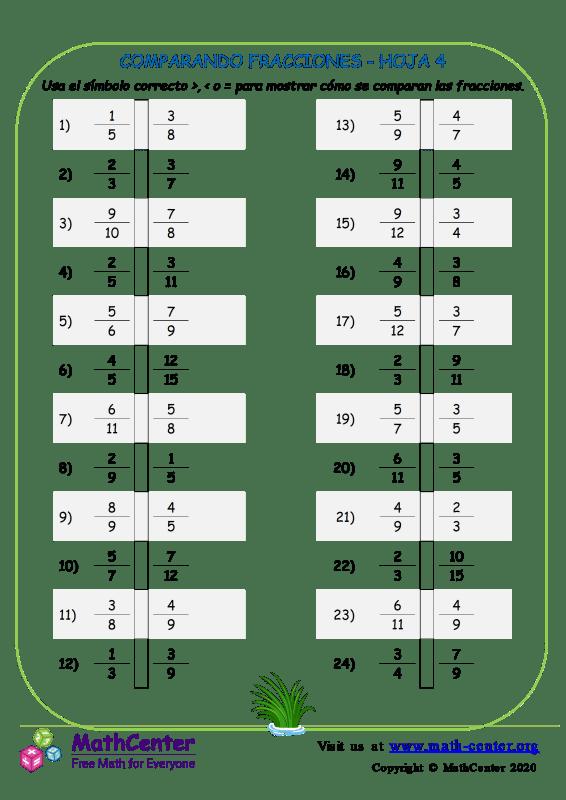 Comparando Fracciones Hoja 4