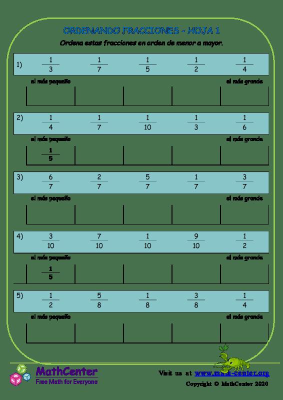 Ordenando Fracciones Hoja 1
