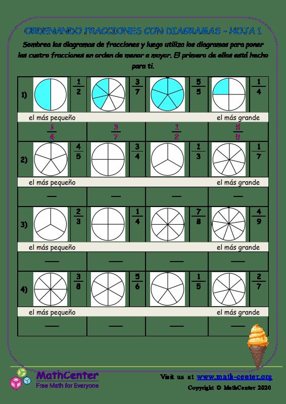 Ordenando Fracciones Con Diagramas Hoja 1