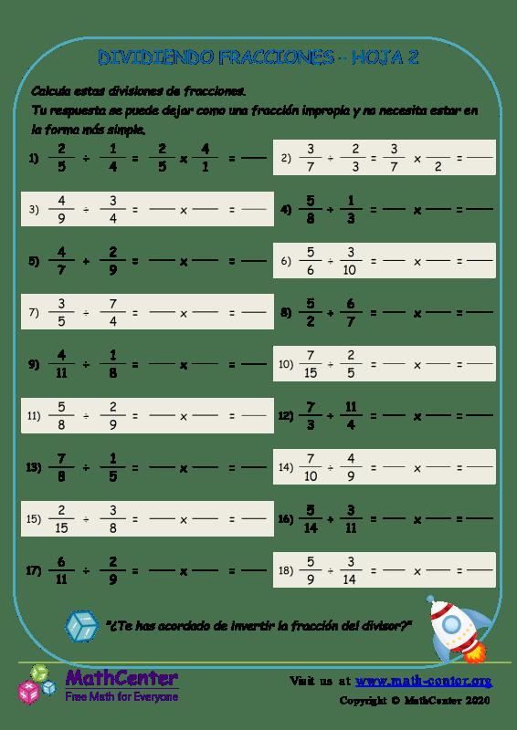 Dividiendo Fracciones Hoja 2