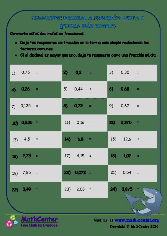 Convierte Decimal A Fracción Hoja 2 (Forma Más Simple)