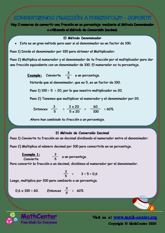 Cómo convertir fracción a porcentaje