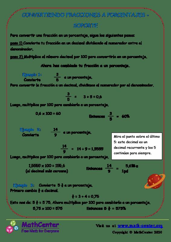 Métodos de conversión de fracciones a porcentajes