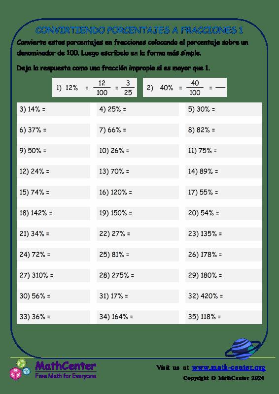 Conversión de porcentajes en fracciones - Hoja 1