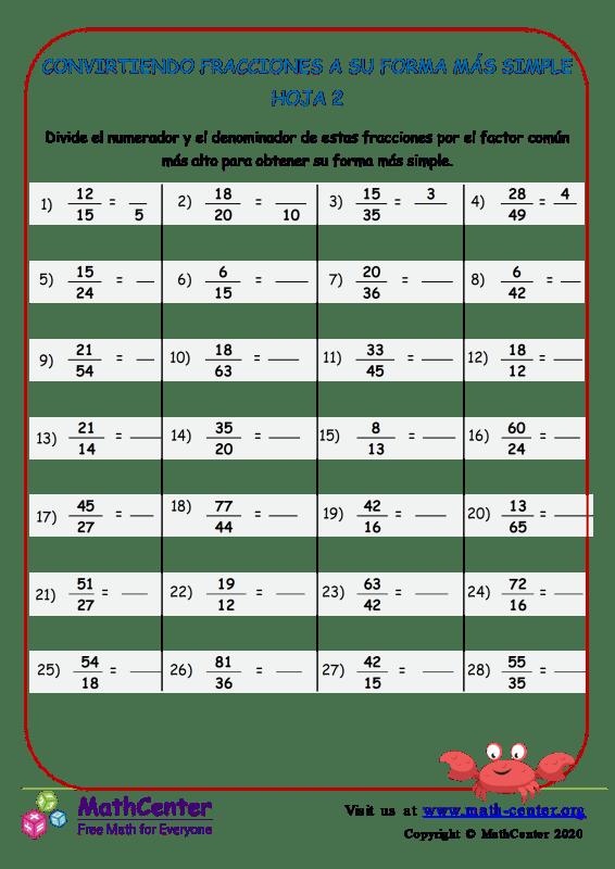 Conversión de fracciones a la forma más simple - Hoja 2