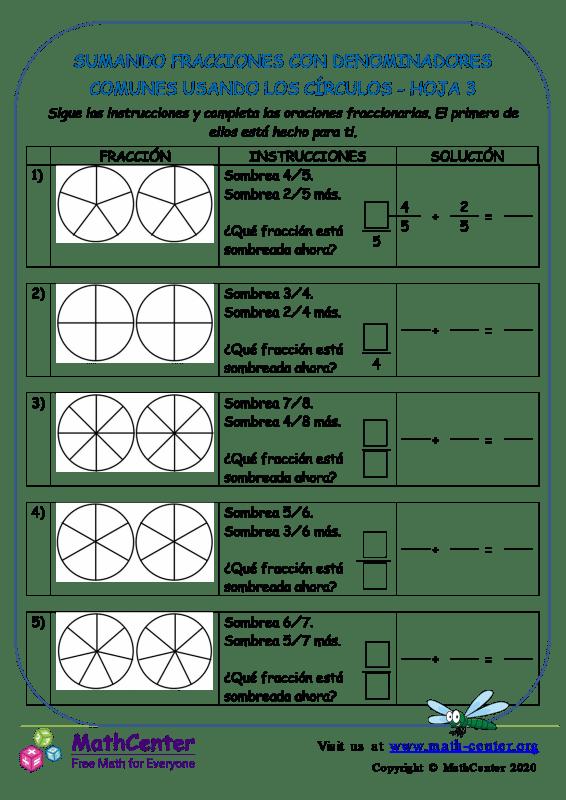 Sumar fracciones con denominadores comunes (círculos)- Hoja 3