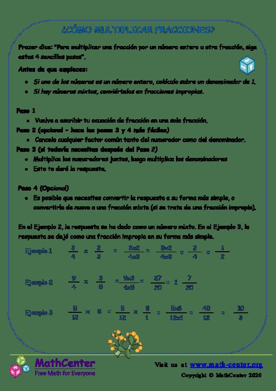 Cómo Multiplicar Fracciones