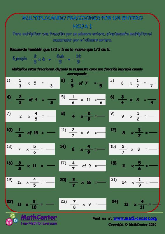 Multiplicar fracciones por un número entero 1
