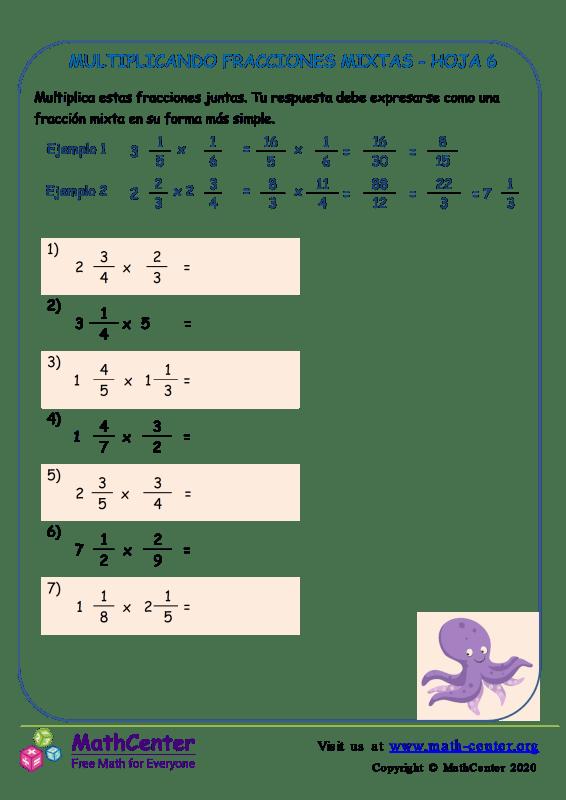 Multiplicando Fracciones Mixtas Hoja 6