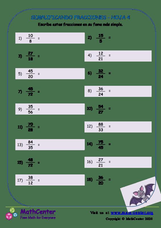Simplificando Fracciones Hoja 4