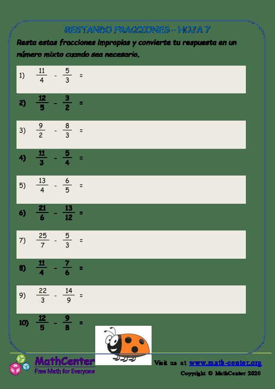 Restando Fracciones Hoja 7