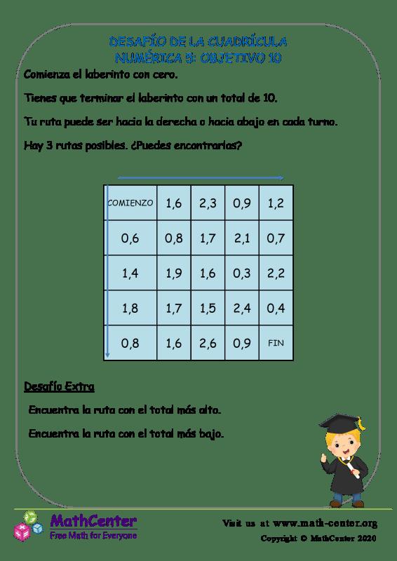 Desafío De La Cuadrícula Numérica 5: Objetivo 10