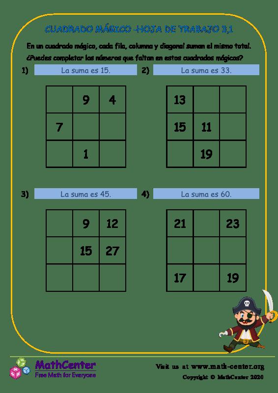 Cuadrado Mágico -Hoja De Trabajo 3.1