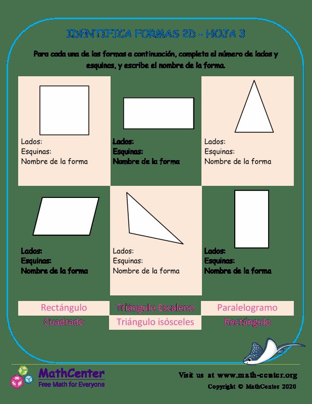 Identifica Formas 2D Hoja 3