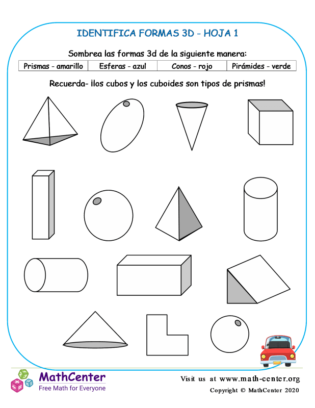 Identifica Formas 3D Hoja 1