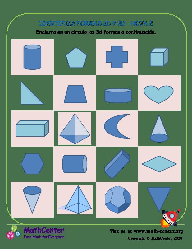 Identifica Formas 2D Y 3D Hoja 2