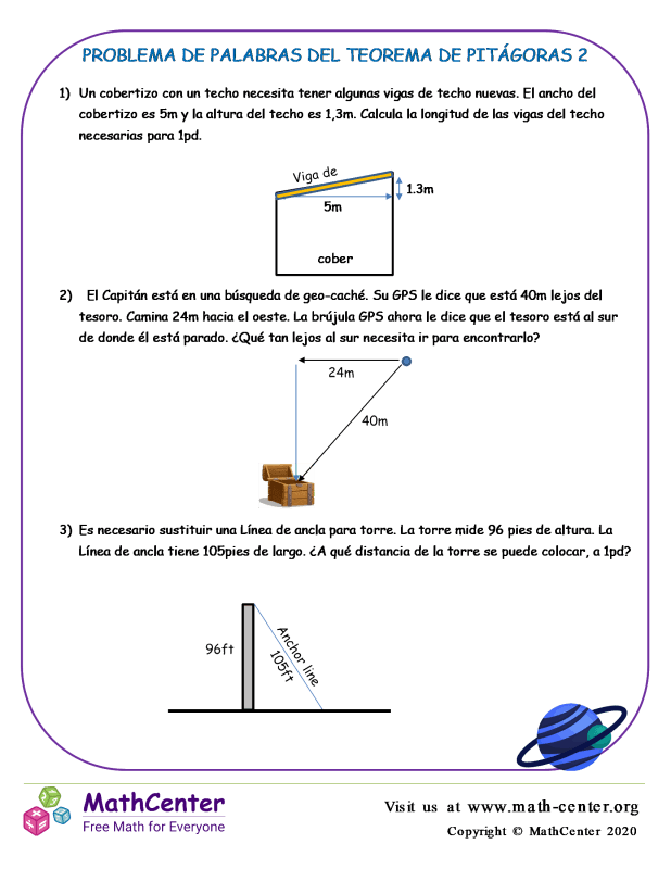 Problema De Palabras Del Teorema De Pitágoras 2