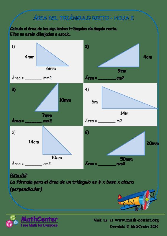 Área Del Triángulo Recto Hoja 2