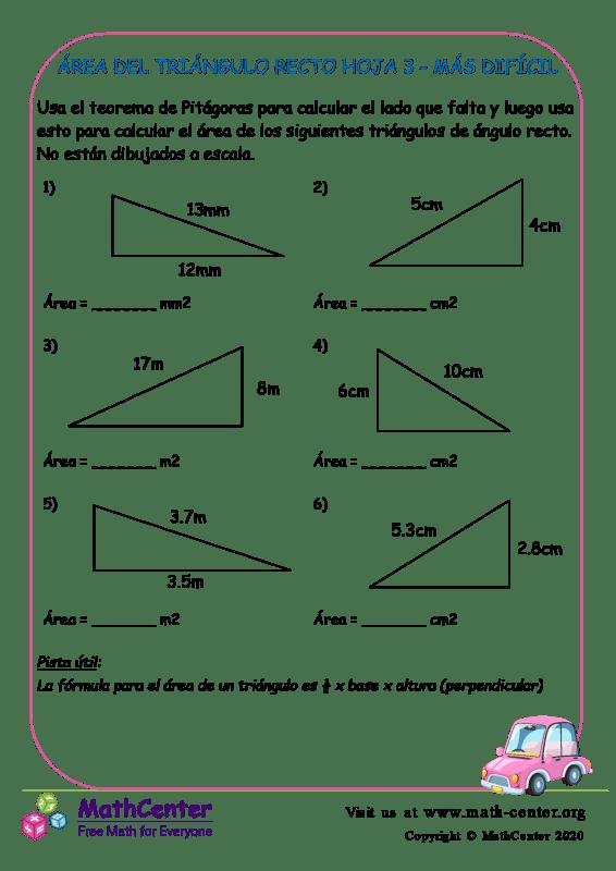 Área Del Triángulo Recto Hoja 3 - Más Difícil