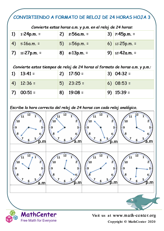 Convirtiendo A Formato De Reloj De 24 Horas Hoja 3