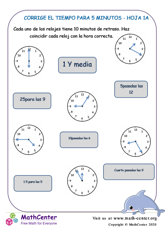 Corrige El Tiempo Para 5 Minutos Hoja 1A