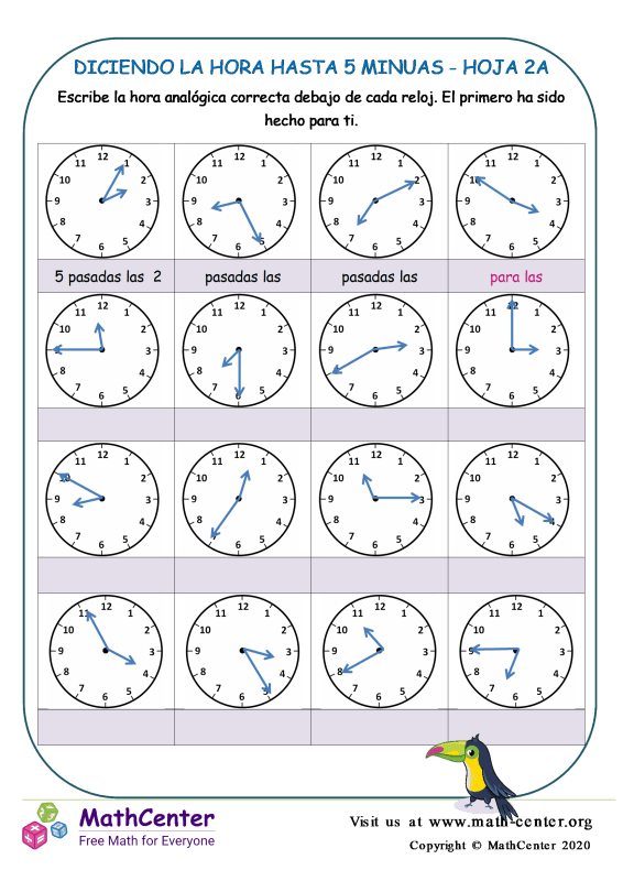 Diciendo La Hora Hasta 5 Minutos Hoja 2A