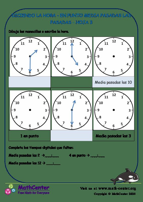 Diciendo La Hora - En Punto Y Media Pasadas Hoja 3