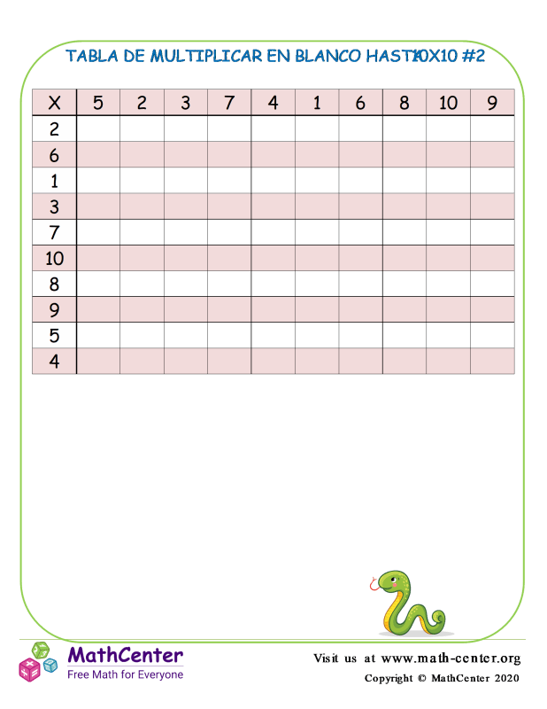 Tabla De Multiplicar En Blanco Hasta 10X10 #2