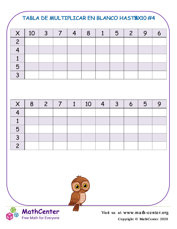 Tabla De Multiplicar En Blanco Hasta 5X10 #4