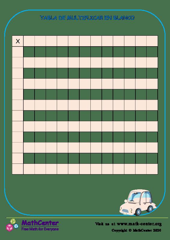 Tabla de multiplicar en blanco hasta 12 plantilla