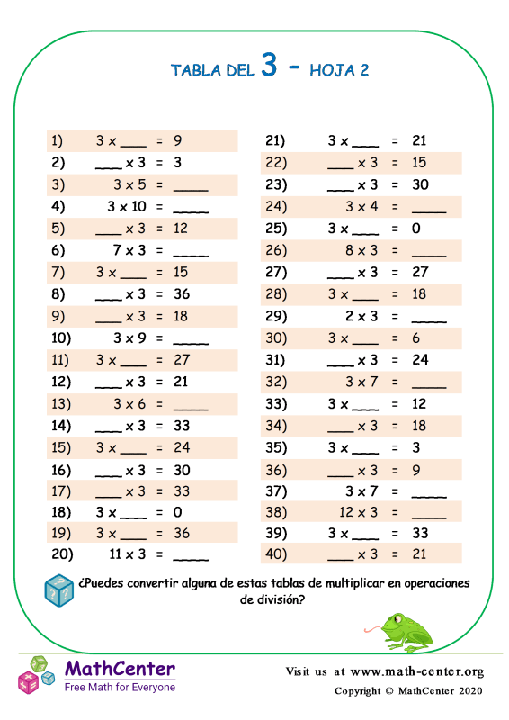 3 Tabla De Multiplicar Hoja 2