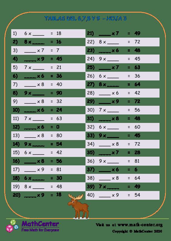 6,7,8 Y 9 Tablas De Multiplicar Hoja 3