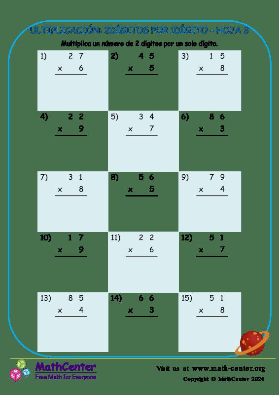 Multiplicación: 2Dígitos Por 1Dígito Hoja 3