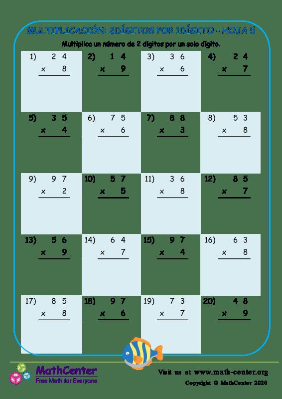 Multiplicación: 2Dígitos Por 1Dígito Hoja 5