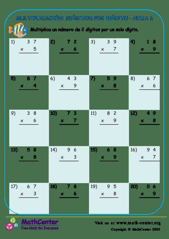 Multiplicación: 2Dígitos Por 1Dígito Hoja 6