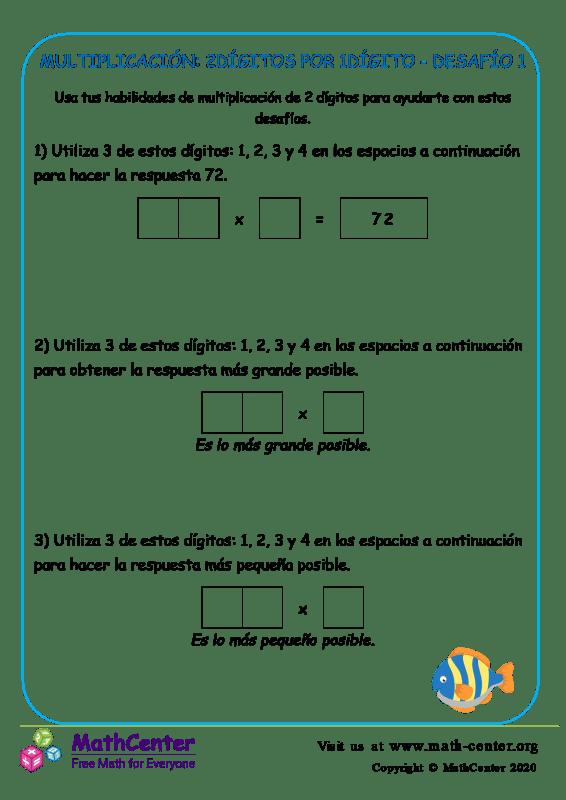 Multiplicación: 2Dígitos Por 1Dígito Desafío 1
